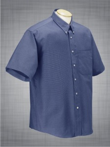 Men's Short Sleeve Houndstooth Oxford TALL SIZES - French Blue
