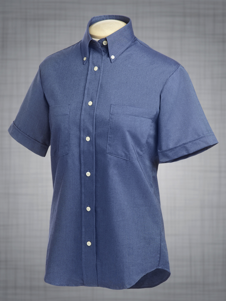 Ladies short sleeve two pocket classic oxford in french for French blue oxford shirt