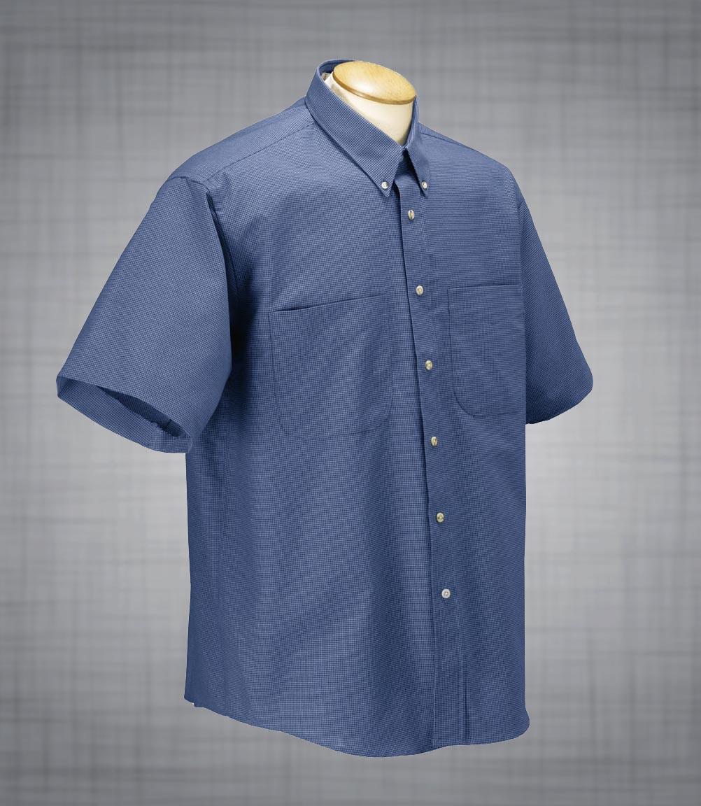 Men 39 s short sleeve two pocket houndstooth oxford john for Mens two pocket short sleeve shirts